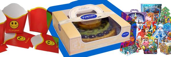 оригинальная картонная упаковка (картошка-фри, торты, новогодние подарки)