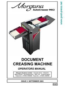руководство пользователя Morgana Autocreaser MK2 (operator manual)