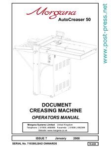 руководство пользователя Morgana Autocreaser 50 (operators manual)